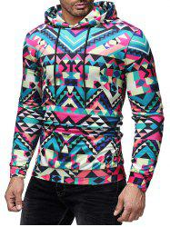 Colorized Geometric Printed Drawstring Hoodie -