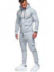 Solid Color Drawstring Pockets Hoodie Suit -