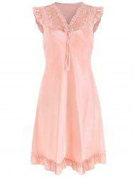 Bowknot Lace Panel Satin Sleeping Dress -
