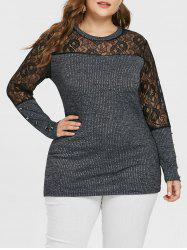 Plus Size Sheer Lace Marled Knitwear -
