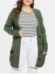 Plus Size Button Up Front Pockets Cardigan -