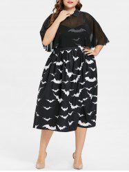 Plus Size Halloween Bat Print Capelet Dress -
