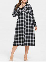 ac3d25418b 2019 Plus Size Plaid Knee Length Shirt Dress