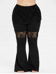 Plus Size Lace Skirted Flare Pants -