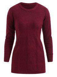 Round Neck Plus Size Cable Knit Pullover Sweater -