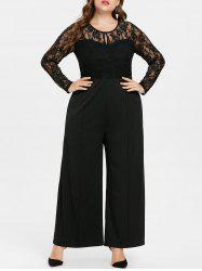 Lace Panel Plus Size Long Sleeve Jumpsuit -