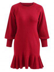 Puff Sleeve Plus Size Ruffle Hem Sweater Dress -