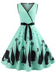 Cat Pattern Plunging Neck Vintage Dress -
