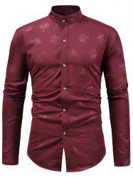 Stand Collar Floral Print Casual Shirt -