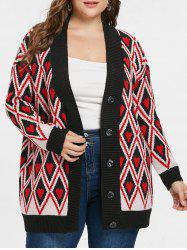 Button Rhombus and Heart Print Cardigan -
