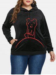 Plus Size Graphic Vevlet Hoodie -