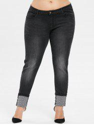 Plus Size Beading Cuffed Jeans -