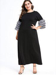 Plus Size Layered Ruffled Sleeve Maxi Dress -