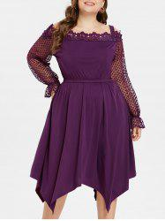 Cold Shoulder Plus Size Crochet Lace Dress -