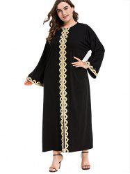 Plus Size Shiny Trim Maxi Dress -
