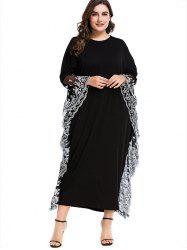 Lace Trim Plus Size Maxi Formal Dress -