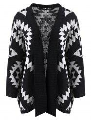 Collarless Geometric Pattern Cardigan -