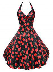 Retro Halter Cherry Print Backless Flare Dress -