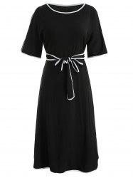 Color Trim Plus Size Belted Dress -