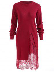 Lace Panel Plus Size Pullover Sweater Dress -