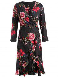 Full Sleeve Floral Print Midi Flowing Dress -