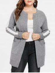 Plus Size Two Tone Tunic Coat -