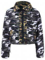 Camouflage Pattern Cropped Zipper Jacket -