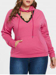 Plus Size Lace Eyelash Cut Out Hoodie -