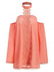 Halter Flare Sleeve Lace Insert Top -