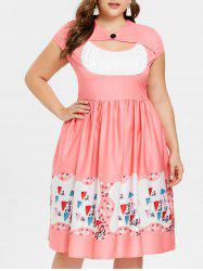 Plus Size Cut Out Flared Dress -