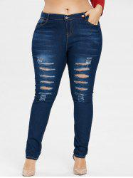 Plus Size Five Pocket Ripped Jeans -