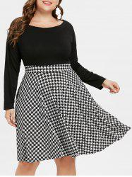 Houndstooth Pattern Plus Size Flare Dress -