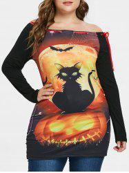 Plus Size Printed Halloween T-shirt -