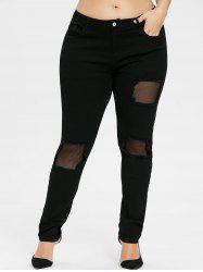 Plus Size Fishnet Insert Ripped Jeans -