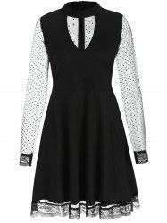 Cut Out Mesh Skater Dress -
