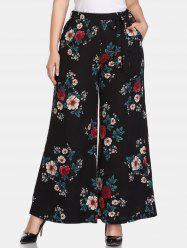 Floral Plus Size High Waisted Pants -
