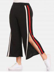 Side Striped Slit Plus Size Wide Leg Pants -