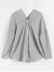 Plus Size Striped Button Up Blouse -