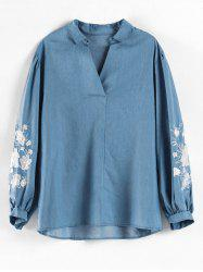 Plus Size Floral Embroidered Top -