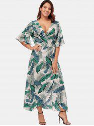Tropical Print Plus Size Wrap Dress -