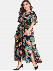 Floral Print Side Slit Plus Size Dress -