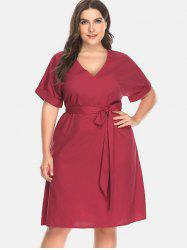 V Neck Cuffed Plus Size Dress -