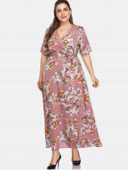 Plus Size Floral Floor Length Dress -