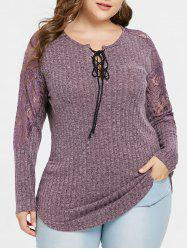 Plus Size Lace Panel Ribbed Marled Knitwear -