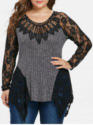 Plus Size Lace Insert Ribbed Knitwear -