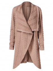Tulip Front Long Cable Knit Cardigan -