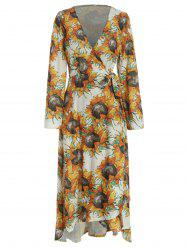 Long Sleeve Sunflower Print Wrap Dress -