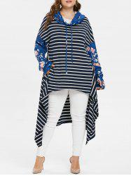 Floral Sleeve Plus Size Striped Asymmetrical Hoodie -