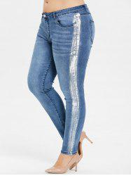 Plus Size Mid Rise Paint Skinny Jeans -