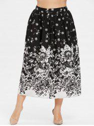 Plus Size Floral Print Tea Length Skirt -
